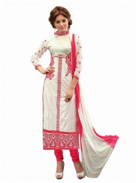 Dress Material Glaze Cotton White Color Suit