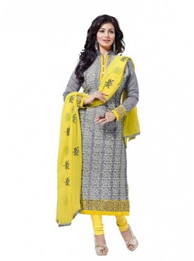 Dress Material Chanderi Grey Color Suit