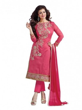 Dress Material Chanderi Pink Color Suit