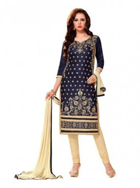 Dress Material Glaze Cotton Nvay Blue Color Suit