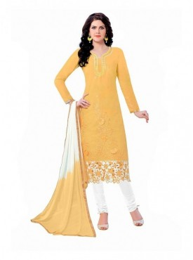Dress Material Cotton Dark Yellow Color Suit