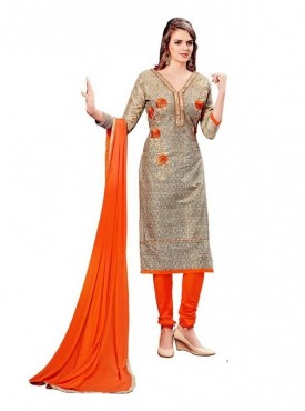Dress Material Cotton Beige Color Suit