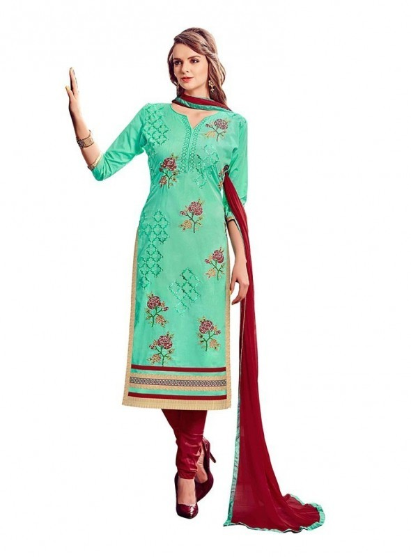 Dress Material Cotton See Green Color Suit