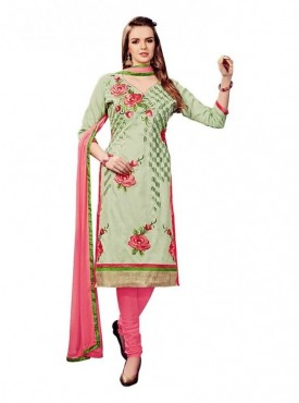 Dress Material Cotton Light Mehendi Color Suit
