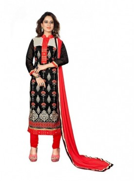 Dress Material Chanderi Black Color Suit