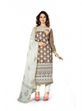 Dress Material Chanderi Brown Color Suit