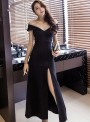 Korea Sexy Wholesale Boat Neck High Split Long Dress