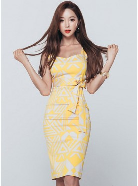 Summer Wholesale Square Collar Tying Waist Color Block Dress