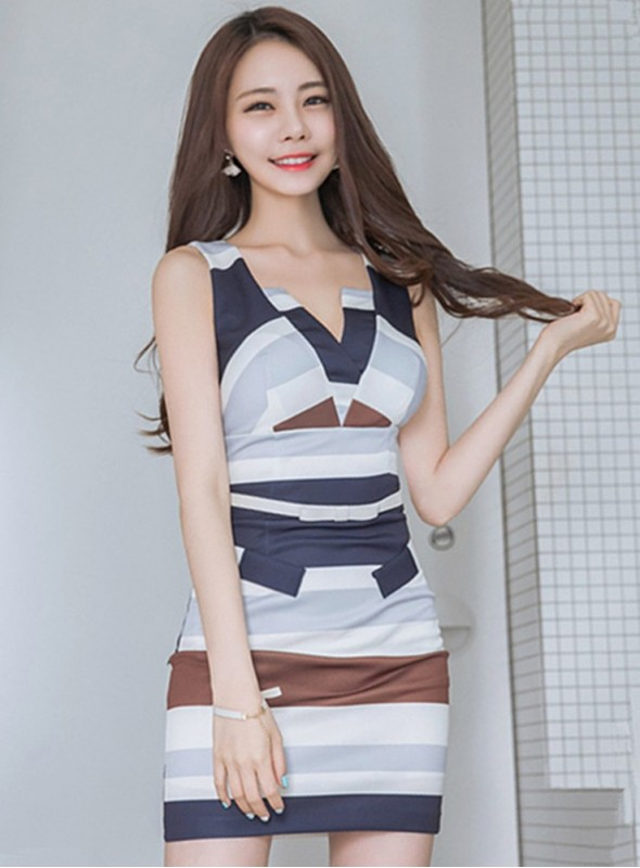 Fashion Summer Color Block V-neck Stripes Tank Dress