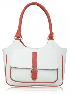 Fantosy Women Italian White And Red Handbag