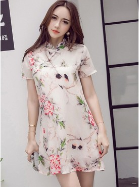 Korea Summer Fashion Flowers Short Sleeve Cheongsam Dress