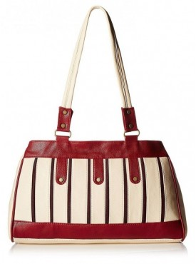 Fantosy Women Lamcy Cream And Maroon Handbag