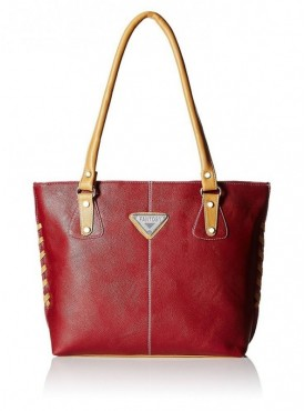 Fantosy Women Crazy Maroon And Beige Handbag