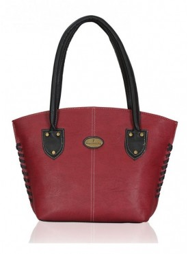 Fantosy Maroon And Black Women Handbag