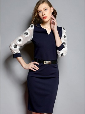 Europe Spring 2 Colors Flowers Embroidery Gauze Sleeve Slim Dress