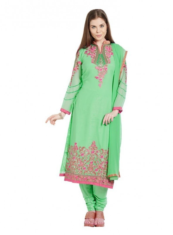 Viva N Diva Light Green Colored Georgette Salwar Suit
