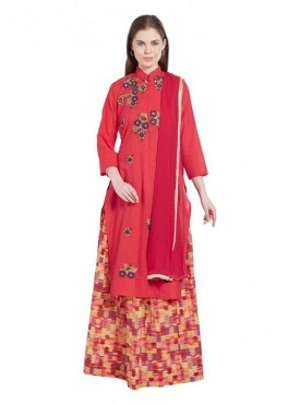 Viva N Diva Red Colored Cambric Cotton Salwar Suit