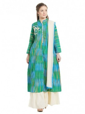 Viva N Diva Green & Blue Colored Cambric Cotton Salwar Suit