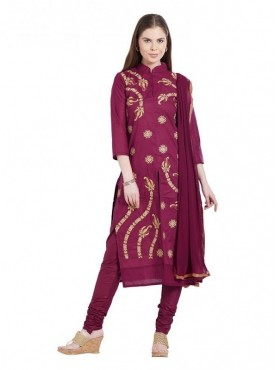 Viva N Diva Magenta Colored Cambric Cotton Salwar Suit