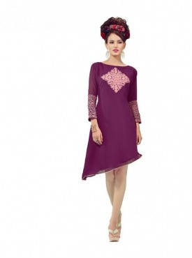 Women Kurti Georgette Purple Collor