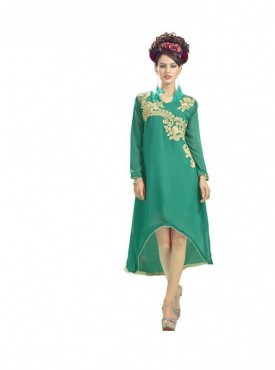 Women Kurti Georgette Green Collor