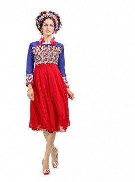 Women Kurti Georgette Red Collor