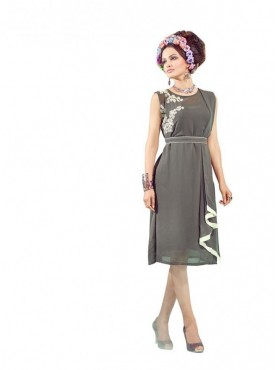 Women Kurti Georgette Grey Collor