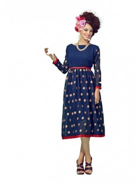 Women Kurti Georgette Blue Collor