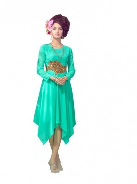 Women Kurti Georgette Light Green Collor