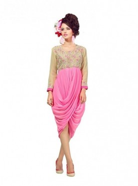 Women Kurti Georgette Pink Collor