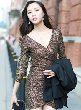 Wholesale Sexy Cross V-neck Gilding Bodycon Stretchable Knitting Dress