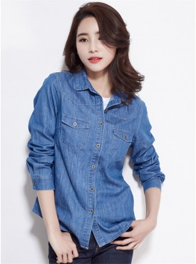 Spring Fashion Turn-down Collar Buttons Open Denim Blouse