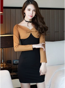 Korea OL Fashion Bowknot V-neck Color Block Skinny Dress