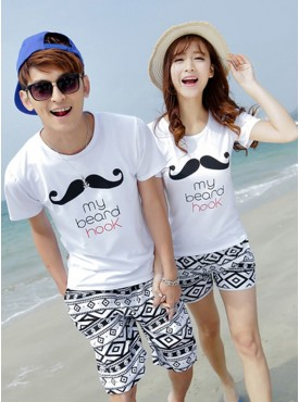 Seaside Vocation Must Have Printings Plaids Cotton Couple Leisure Suits