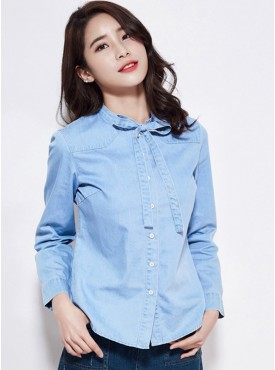 Fashion Wholesale Bowknot Collar Long Sleeve Denim Blouse