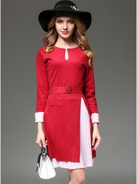 Fashion Split Wool Dress with Elastic Waist Pleated Chiffon Skirt