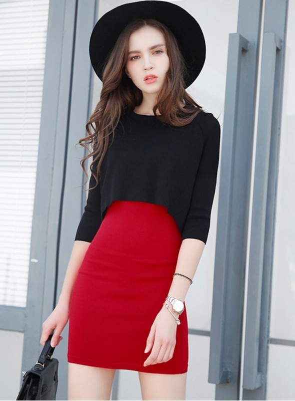 Europe Round Neck Short Blouse with Skinny Tank Dress