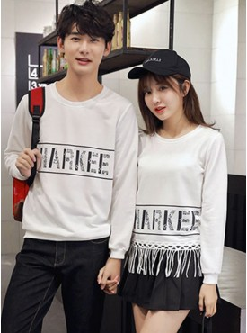 Fashion Korea Letters Printing Tassels Cotton Couple T-shirts