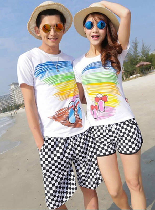 Fashion Couples Printings Cotton T-shirts with Grids Quick-dry Short Pants