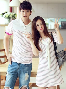 Hot Stylish New Stripes Turn-down Collar Slim Cotton Couple Shirts