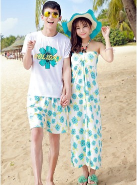 Summer New Fashion Flowers Seaside Vocation Couple Suits