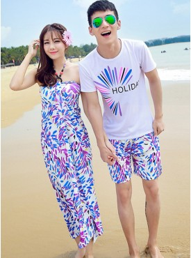 Wholesale Summer Fashion Flowers Cotton Beach Couple Shirts