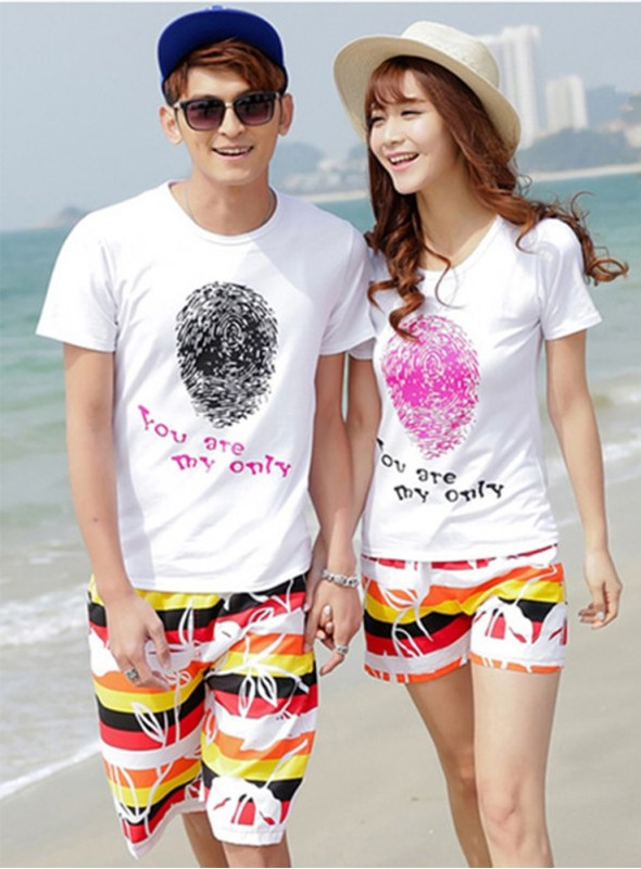 New Summer Fashion Fingerprint Colorful Stripes Couple Leisure Suits