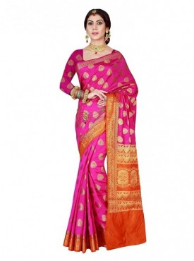 Viva N Diva Red colored Banarasi silk saree.