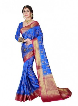 Viva N Diva Turquoise Green colored Banarasi silk saree.