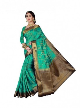 Viva N Diva Pink & Teal Blue Colored Banarasi Silk Saree.