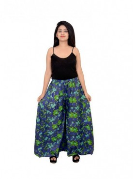 Women Cotton Printed 60-60 Camric Cotton Plazo With Side Pocket