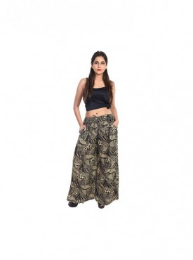 Women Rayon Printed 140 Grm Plazo With side Pocket
