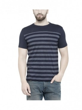 TSX Men's Round Neck Blue Striped T-shirt