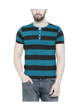 TSX Men's Henley Blue Striped T-shirt